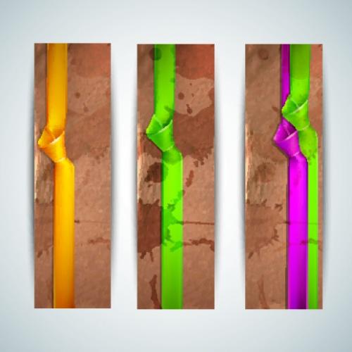 Карточки и баннеры с лентой часть 2   Ribbon cards and banners vector 2