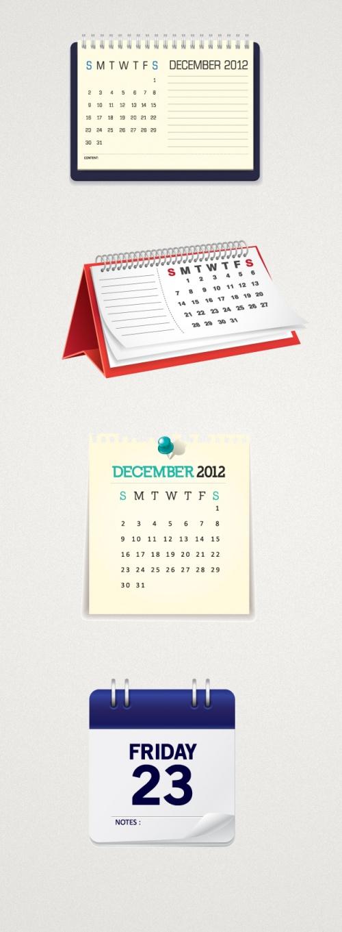 Designtnt - Calendar Mock-ups Vector Set 1