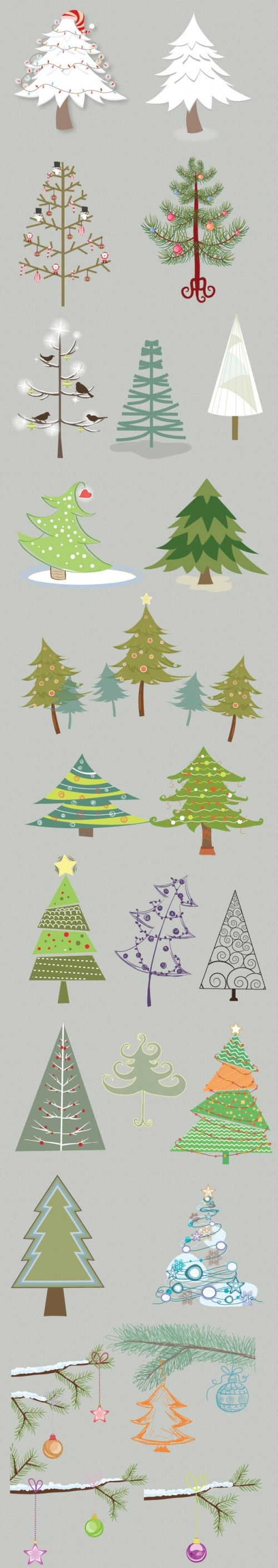 Designtnt - Christmas Trees Vector Set 1
