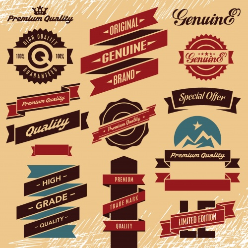Retro labels, stickers and badges