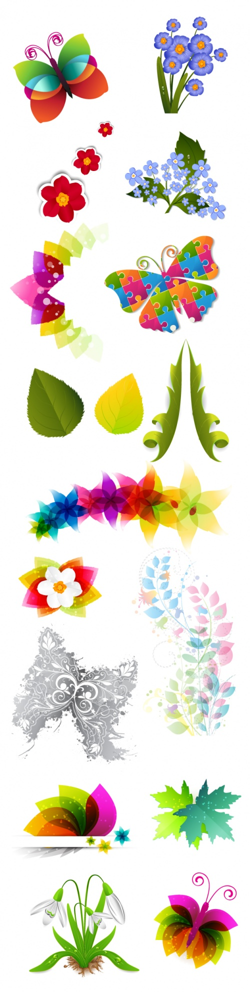 Designtnt - Vector Floral Ornaments Set 7