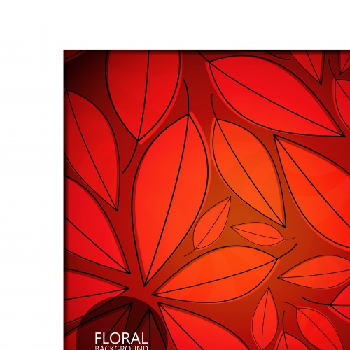Флора красные и чёрные фоны | Flora red and black vector backgrounds