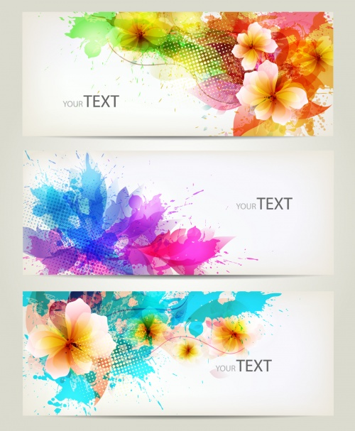 Abstract Flowers Backgrounds Vector