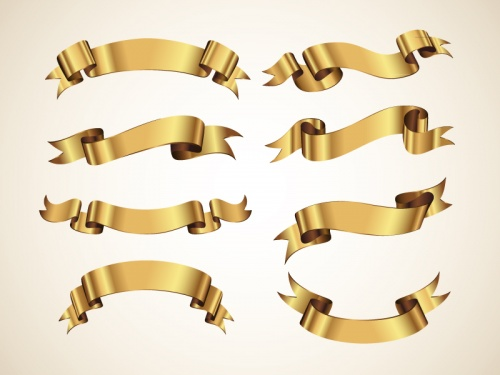 Pixeden - Golden Decorative Vector Ribbons Set
