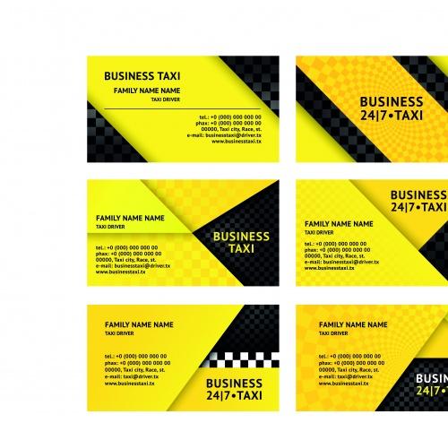 Бизнес карточки такси часть 2 | Business Cards taxi driver set 2