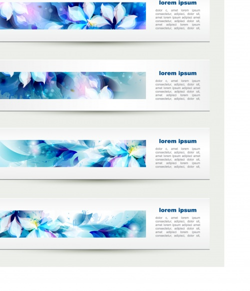 Abstract floral banners with blots