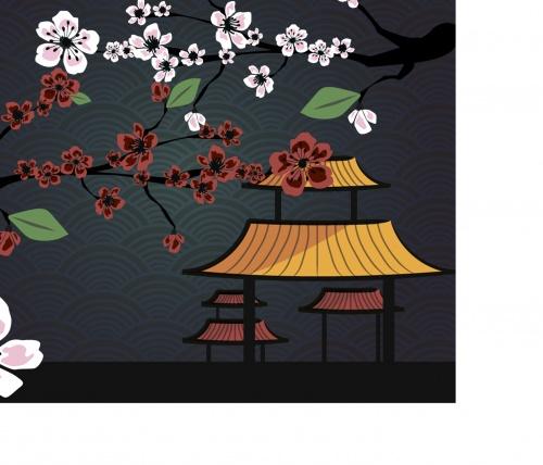Japanese card with blossom sakura