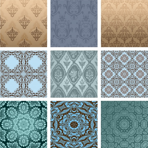 Винтажные векторные фоны и орнаменты / Vintage background in vector set