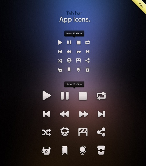 Pixeden - Tab Bar Icons iOS vol6