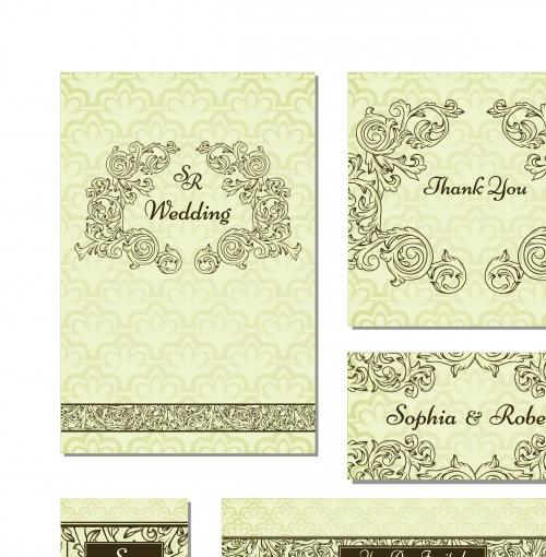 Винтажные свадебные карточки | Vintage wedding invitation card vector