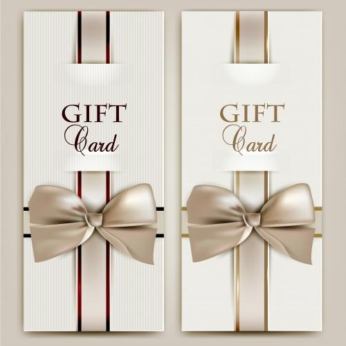 Подарочные карты с лентами в векторе / Gift card with ribbon - vector stock