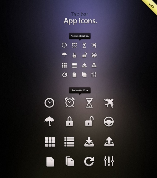 Pixeden - Tab Bar Icons iOS vol5
