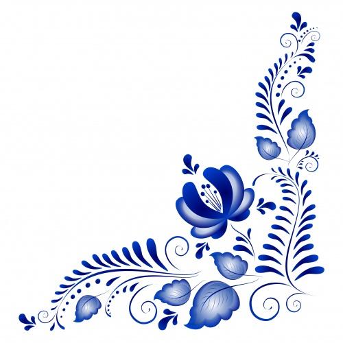 Голубые цветочные орнаменты для росписи пасхальных яиц | Blue flower ornaments for a list of Easter eggs in vector