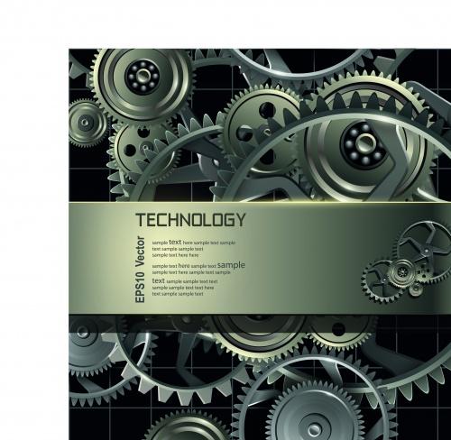Металлические шестерёнки техно фоны | Metal gears and cogwheels vector background