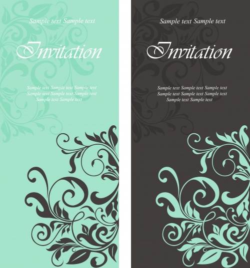 Floral Invitation Banners Vector
