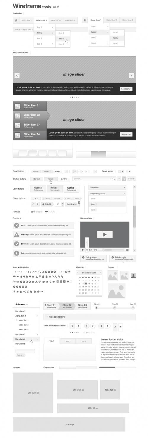 Pixeden - Webpage Wireframe Stencil