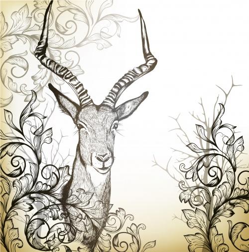Винтажные фоны с рисованными животными / Vintage background with hand drawn animals and butterfly in vector