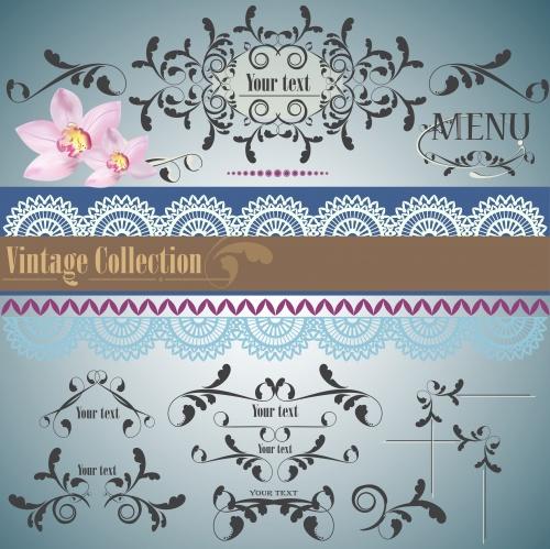 Винтажные меню и орнаменты в векторе 2 / Vintage menu and ornaments in vector 2