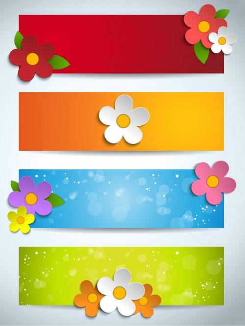 Весенние цветные баннеры с цветами в векторе / Spring color banners with flowers in vector