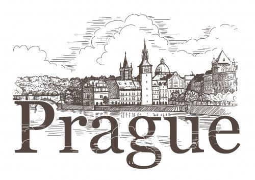 Архитектура города Праги в векторе / Prague - vector stok photo