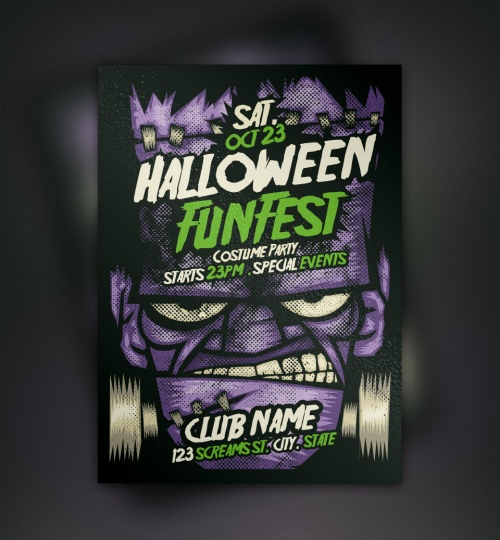 Pixeden - Franky Halloween Flyer Template