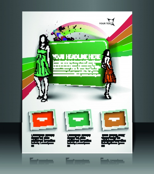 Брошюра флаер и бизнес карточки | Brochure flyer and business cards original stylish design vector