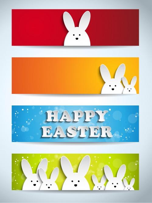 Пасхальные цветные баннеры с кроликами / Easter color banners with rabbit in vector