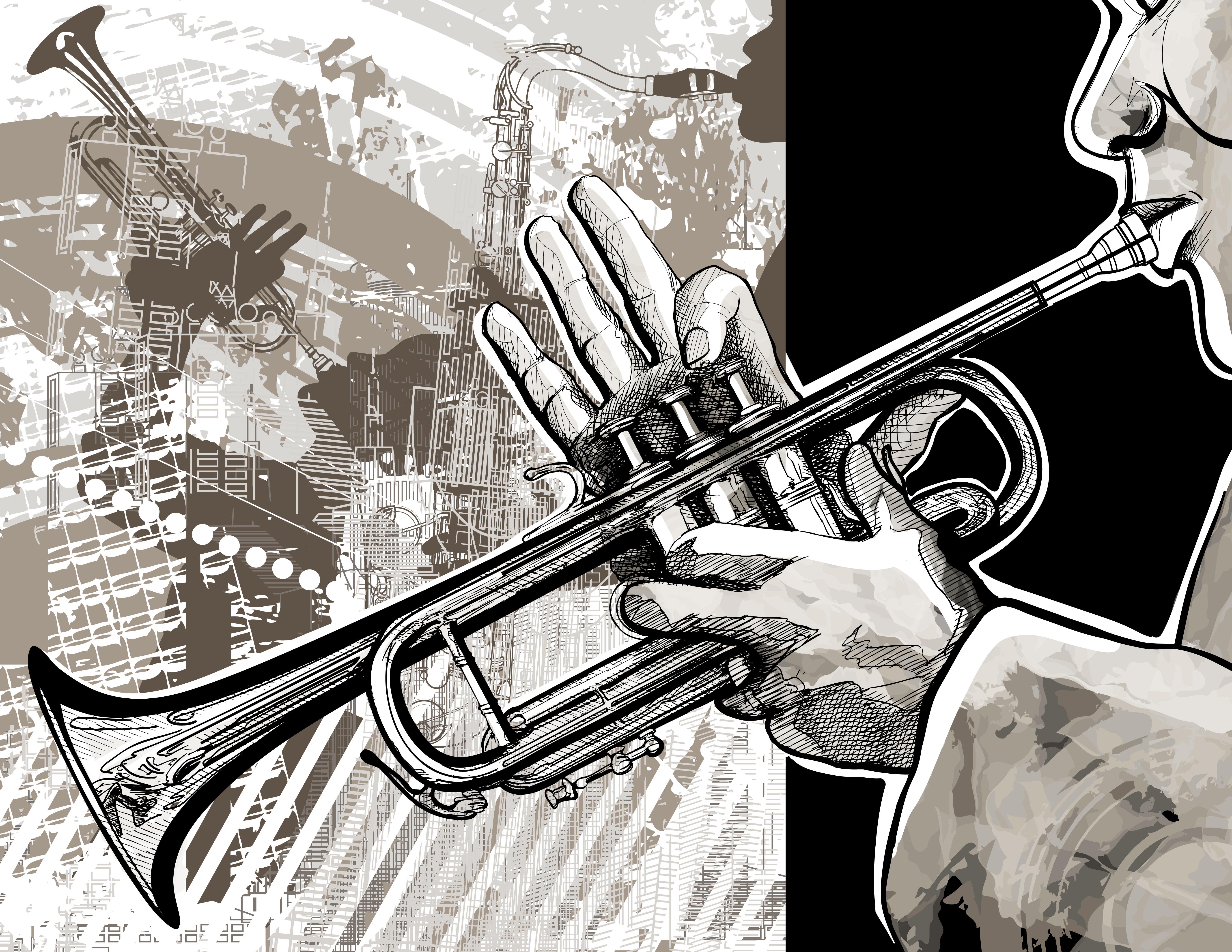 постер джазовый трубач хэпберн