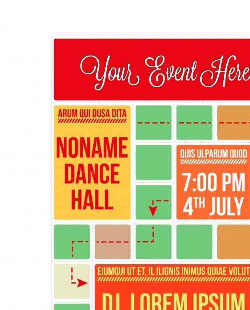 Рекламный флаер на вечеринку | Dance party promotional cubes flyer vector