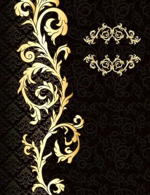 Винтажные тёмные фоны с золотыми элементами в векторе