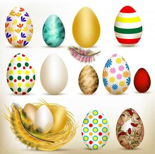 Фоны к пасхе с пёрышками / Easter vector cards with plumelets
