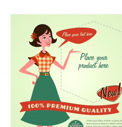 Рекламный постер в ретро стилье | Promotional poster retro style vector