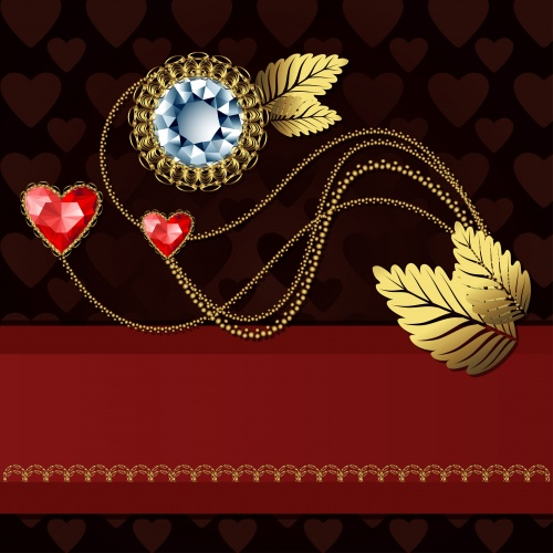 Vector festive backgrounds with jewels and a gold ornament