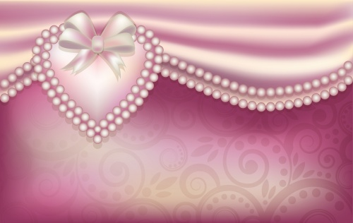 Backgrounds with pink roses, hearts and pearls in a vector