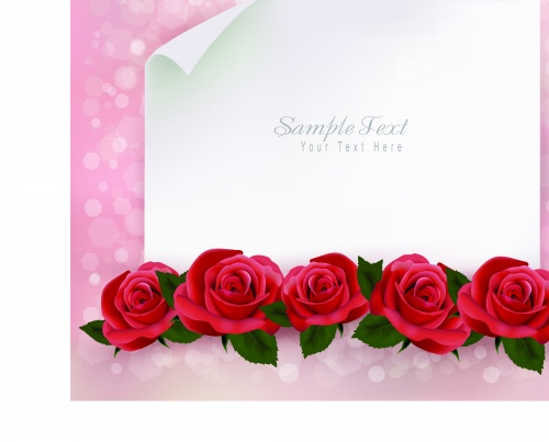 Розы и чистый лист для текста | Roses and a blank sheet of paper for text vector