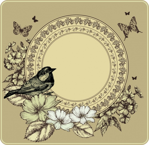 Vintage Backgrounds with Birds Vector
