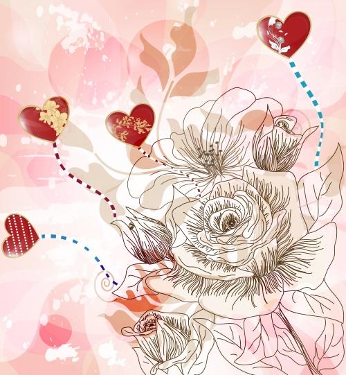 Винтажные сверкающие цветочные фоны в векторе