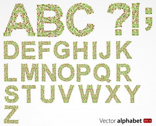 Векторный клипарт цветочных орнаментов, уголков и алфавита