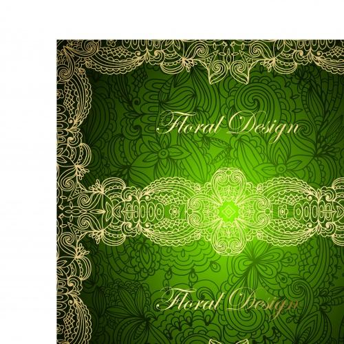 Винтажные зелёные карточки обложки | Vintage card green cover vector background