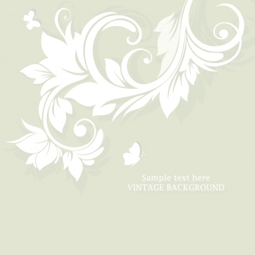Beige Floral Invitations Vector