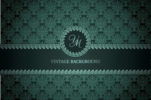 Vintage backgrounds with gold elements in green tone in a vector
