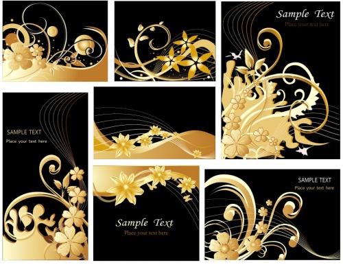 Фоны с золотыми цветами и сердцами в векторе