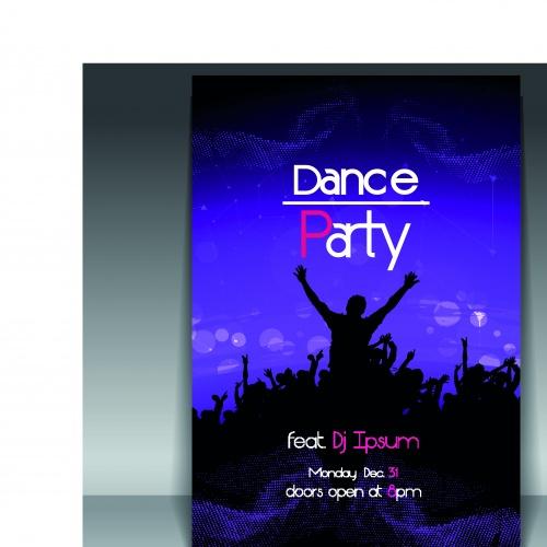 Флаер на танцевальную ночную вечеринку часть 3 | Flyer dance night party vector set 3