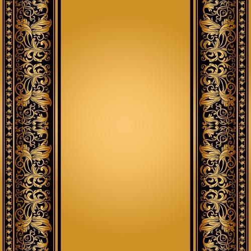 Винтажные фоны с золотыми орнаментами в векторе
