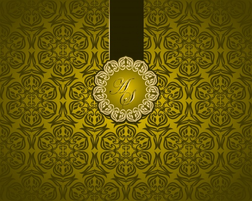 Golden invitations & heart elements