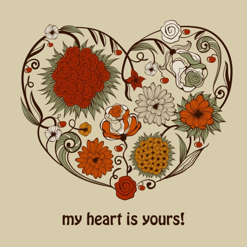 Vector vintage hearts and flowers for registration of festive cards