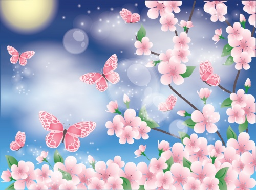 Stock: Spring card with sakura and butterfly
