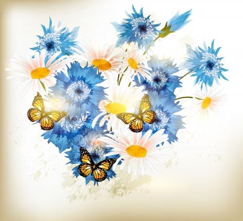 Нежные фоны с ромашками, васильками и бабочками в векторе | Gentle backgrounds with camomiles, cornflowers and butterflies in a vector
