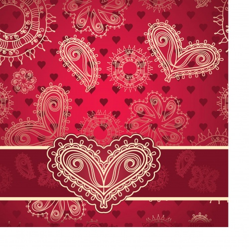 Greeting card with vintage heart