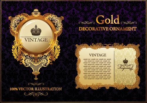 Винтажные фоны с золотыми узорами в векторе